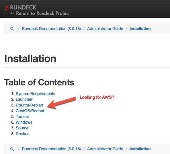 AWS Installation should link from Administrator Guide