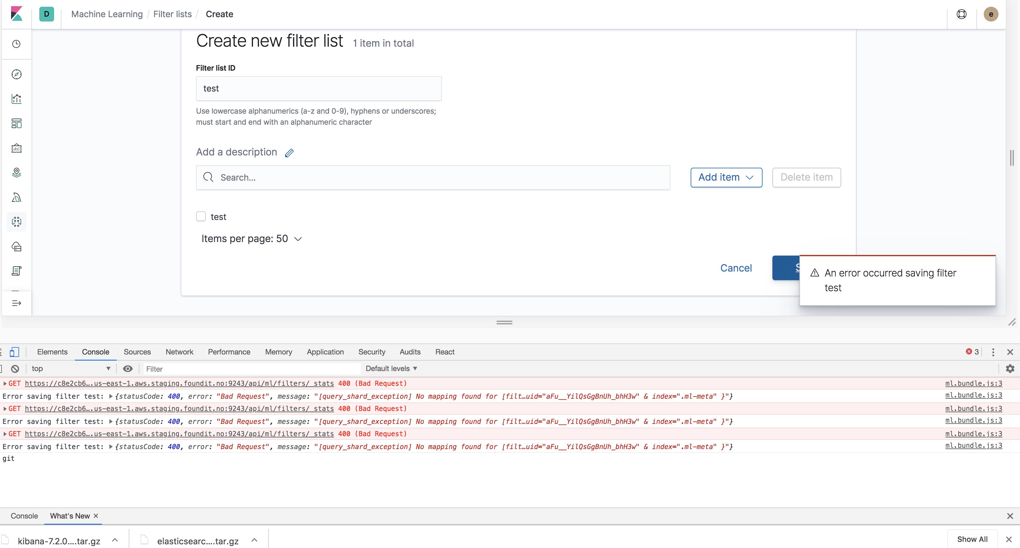 ML- Filter lists - error message seen on clicking refresh