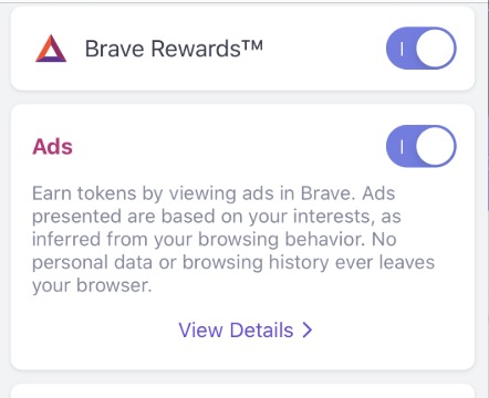 Show Estimated Ad Earnings This Month On The Top Level Brave Rewards Settings Screen And Do Not Hide Under View Details Additional Press Issue 9914 Brave Brave Browser Github