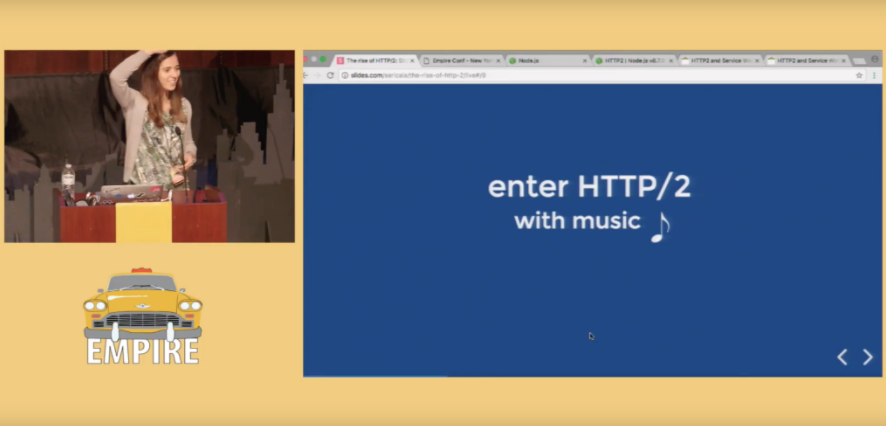 Daniela in EmpireJS conference in NYC presenting HTTP/2 with music