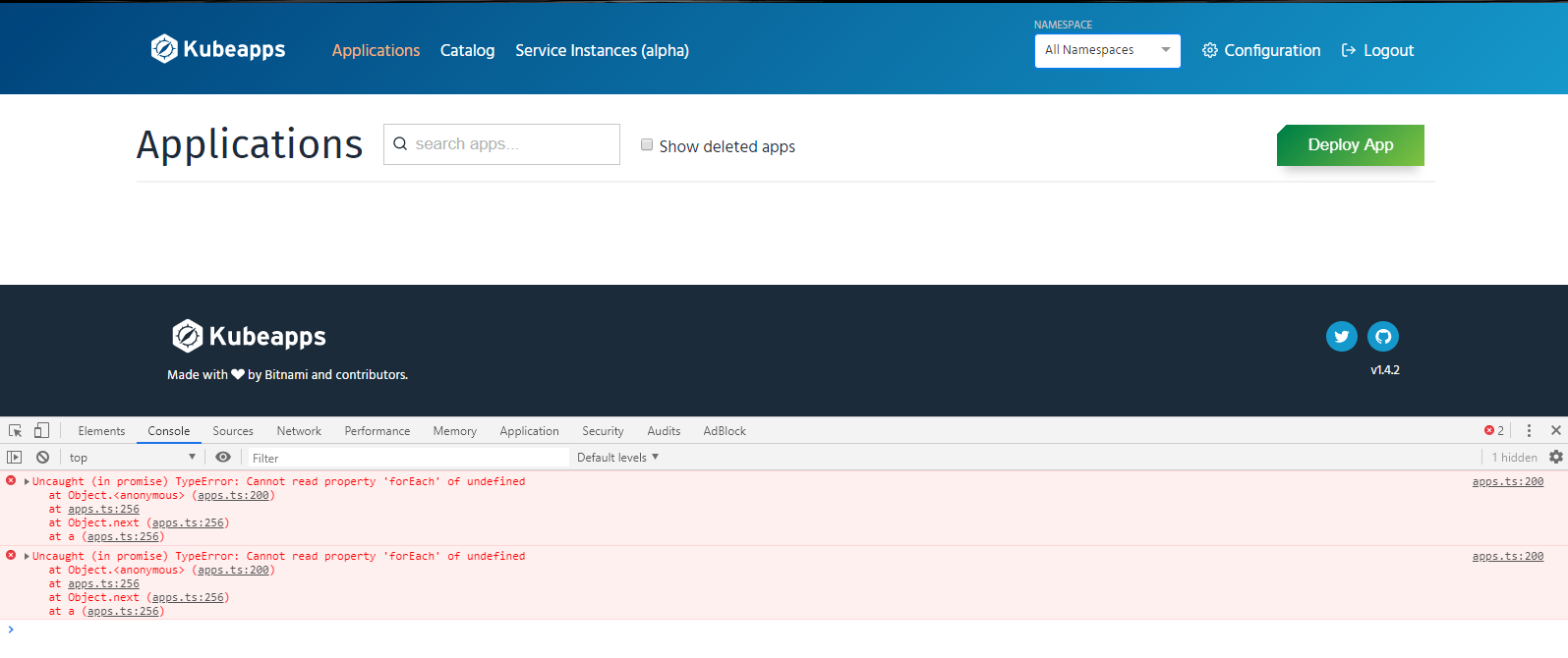 dashboard not working with error · Issue #1096 · kubeapps