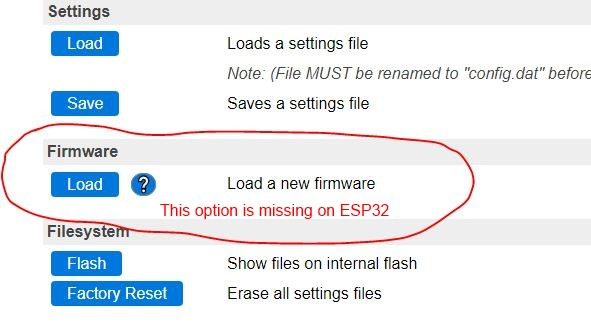 ESP32 Tools-Firmware-Load - no functionality · Issue #1320
