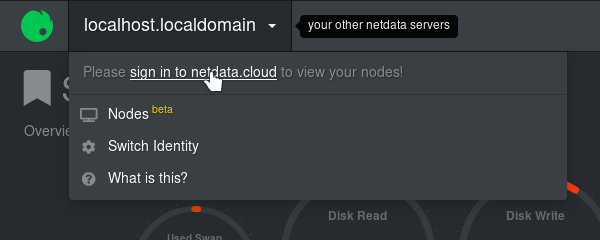 A screenshot of the Netdata Cloud sign in link
