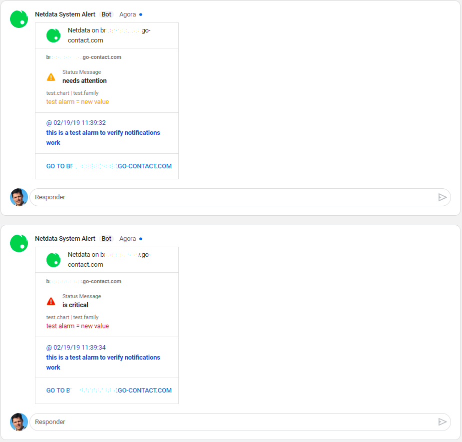 Netdata on Hangouts