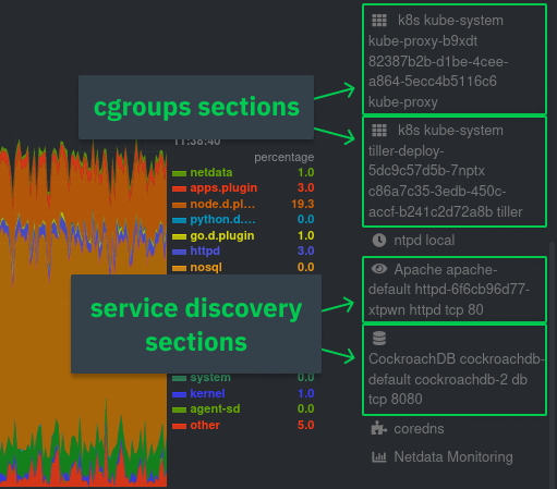 Showing the difference between cgroups and service discovery sections