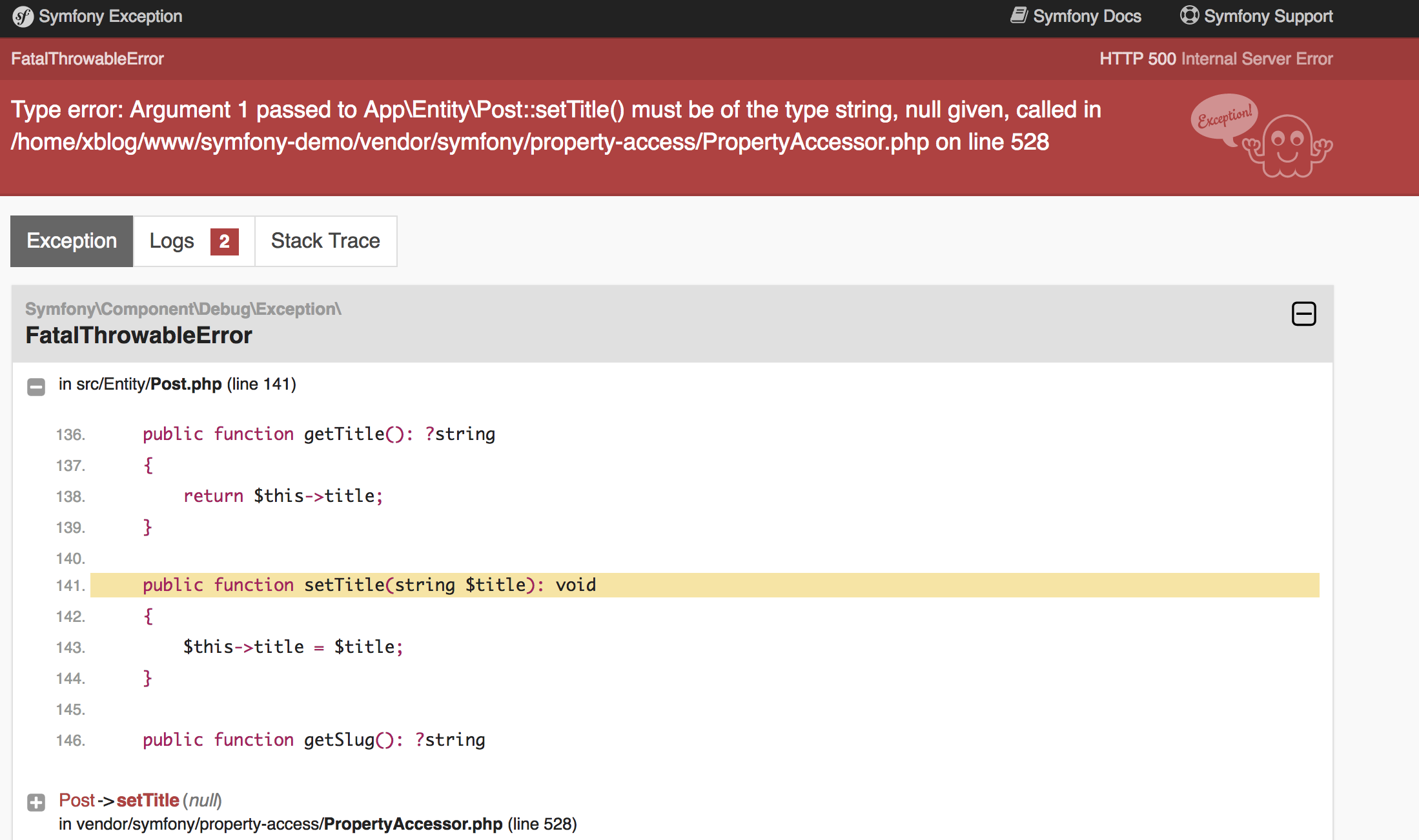 Validation error in edit form · Issue #741 · symfony/demo