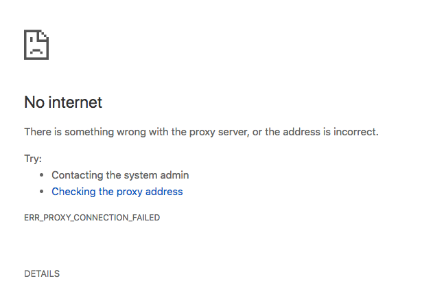 There is something wrong with the proxy server, or the address is