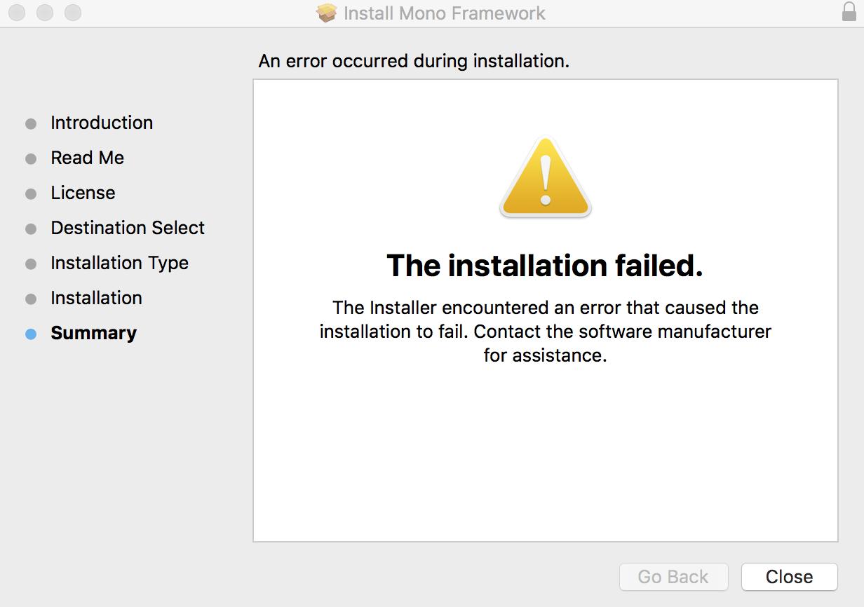 Mono framework MDK fails to install on macOS High Sierra 10.13.3