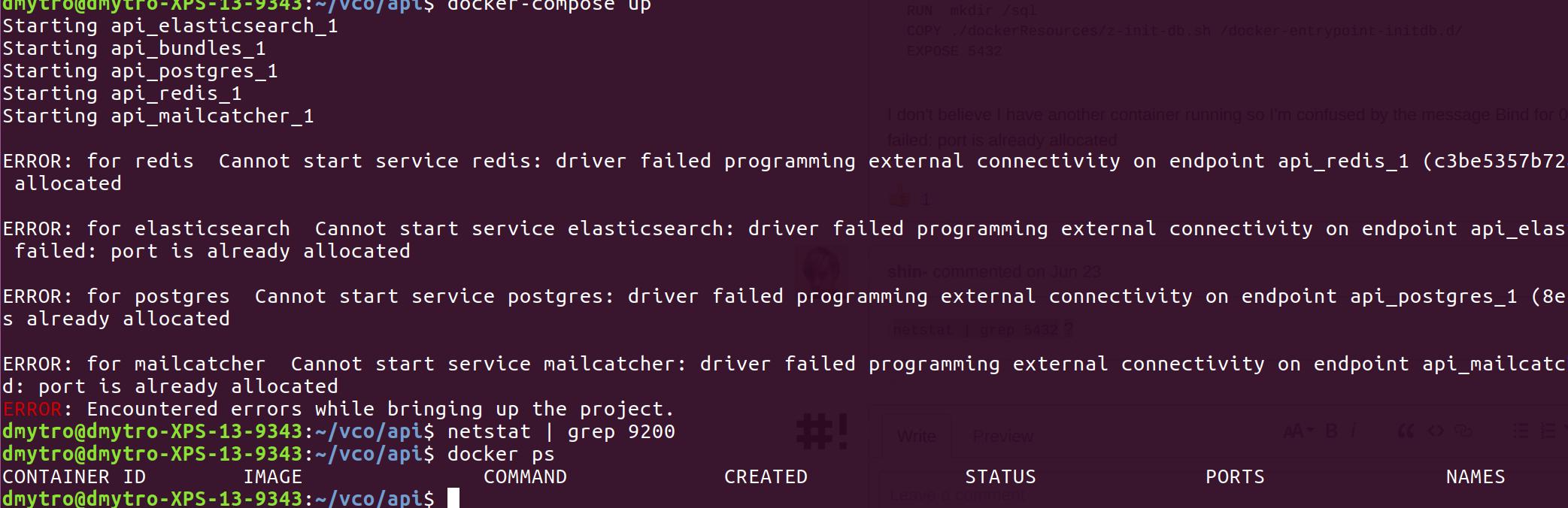 Docker-compose up failing because