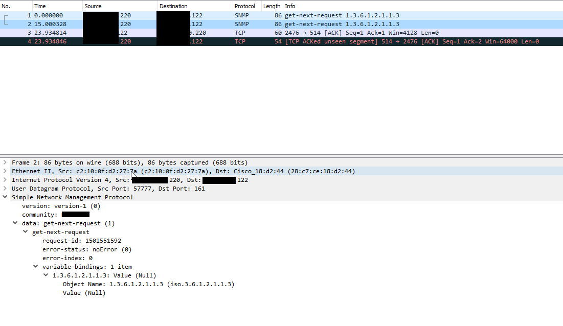 Bug Report: Get timeout after disabled SNMP v1 on Cisco