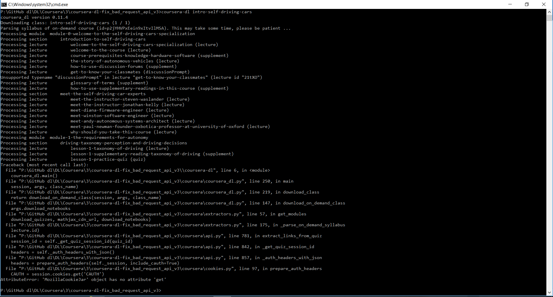 Developers - HTTPError: 400 Client Error: Bad Request for url: https