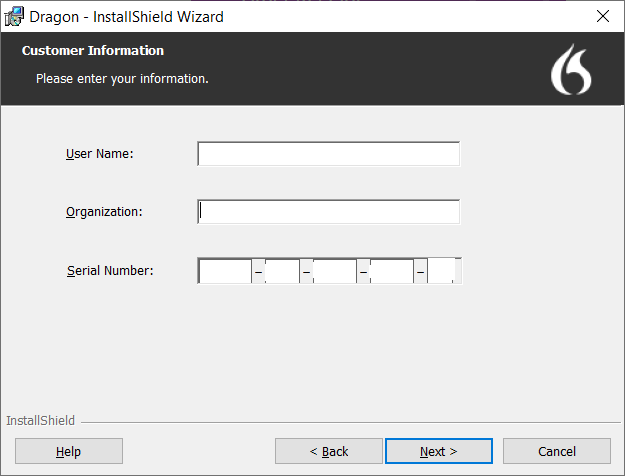 enter your name, organization, and serial number