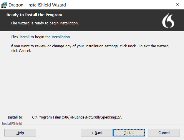 click install to install dragon dictate