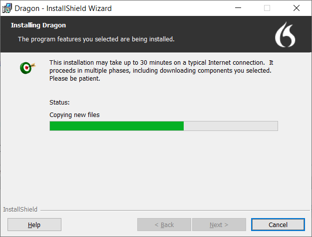 The installation screen appears.