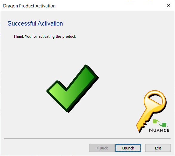 Product Activation Thank You Screen