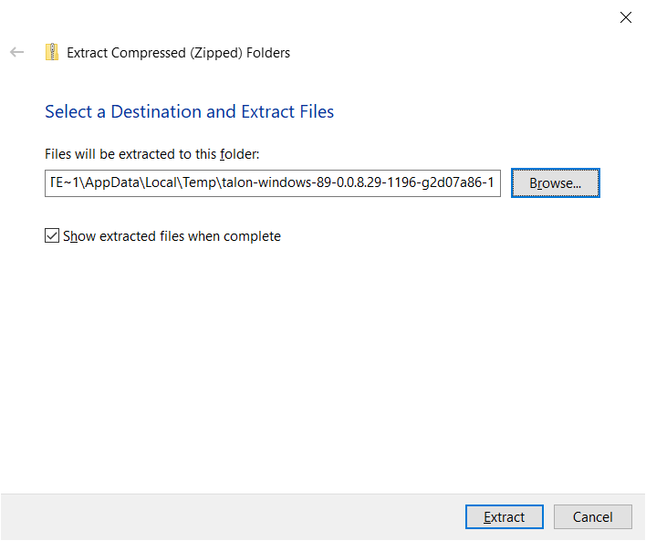 We need to select a destination file.  The proper destination is program files
