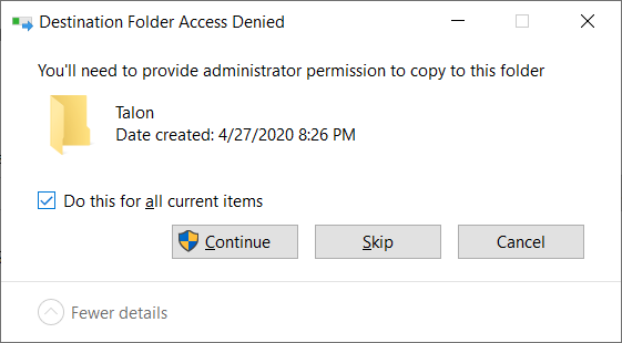 grant the computer permission to install talon in this directory
