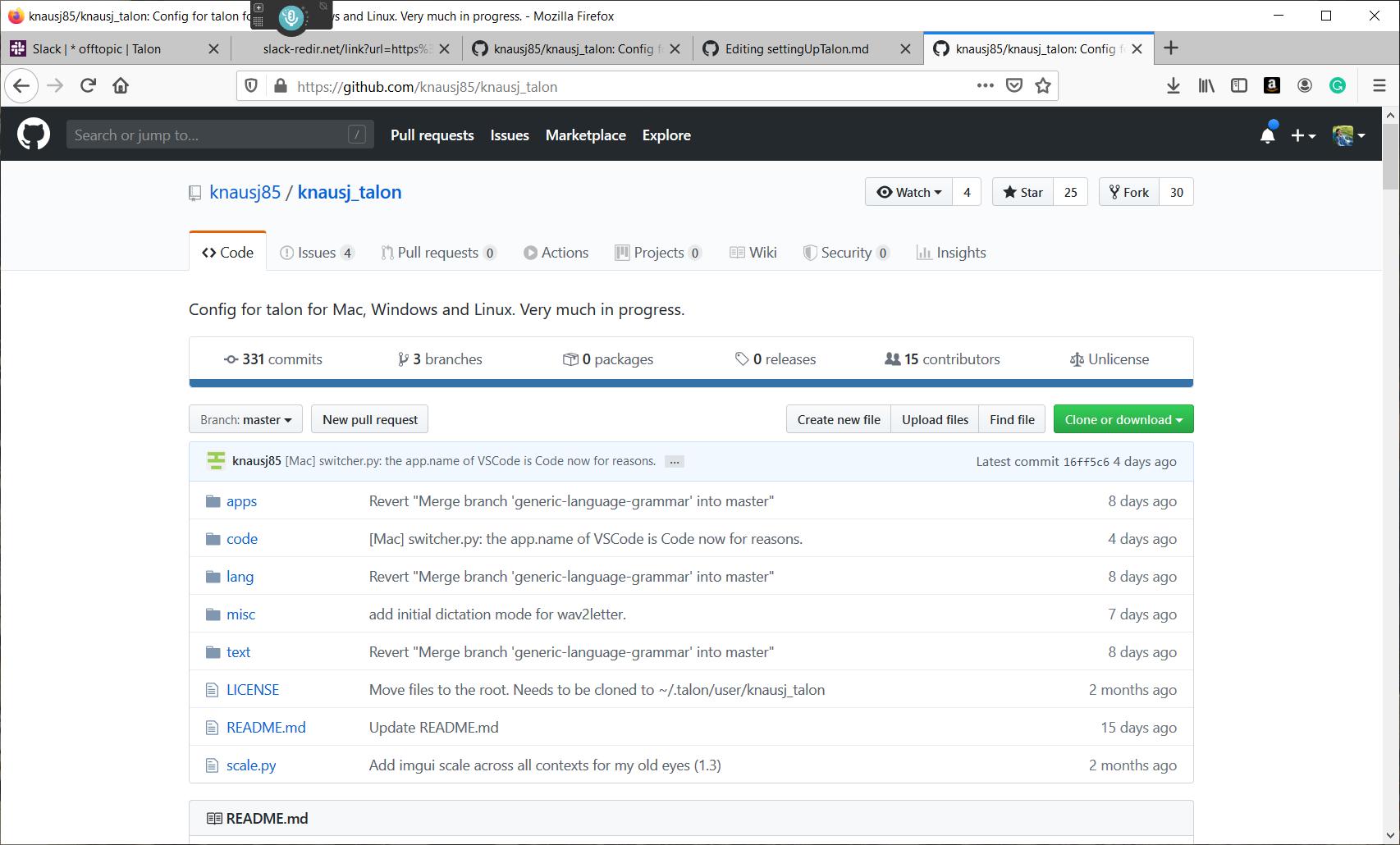 knausj_talon configuration files github page