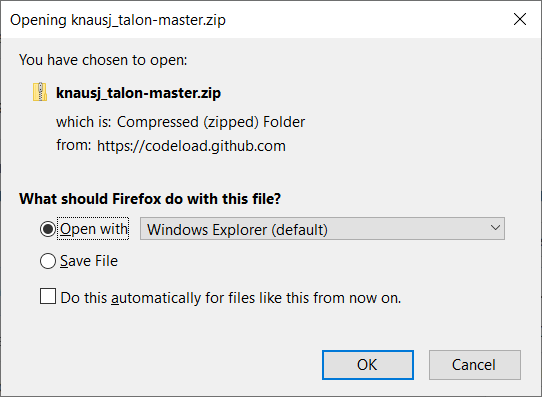A download window will open.  Choose open files with windows file explorer, then press 'ok.'