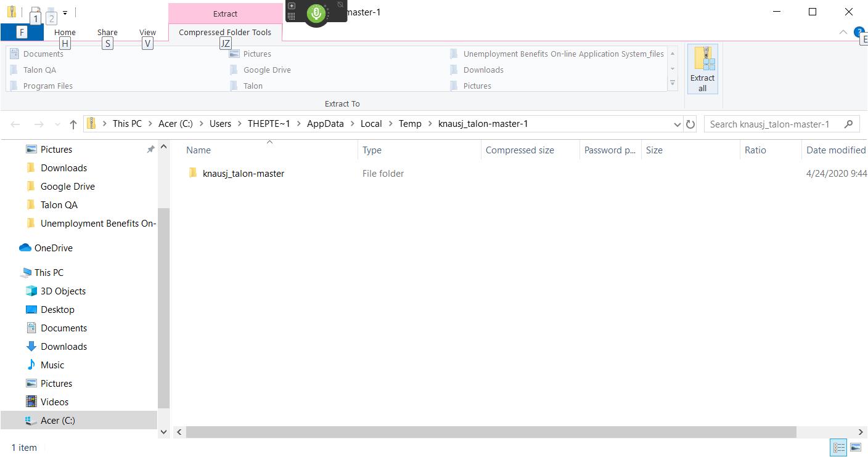 Windows explorer extraction tool
