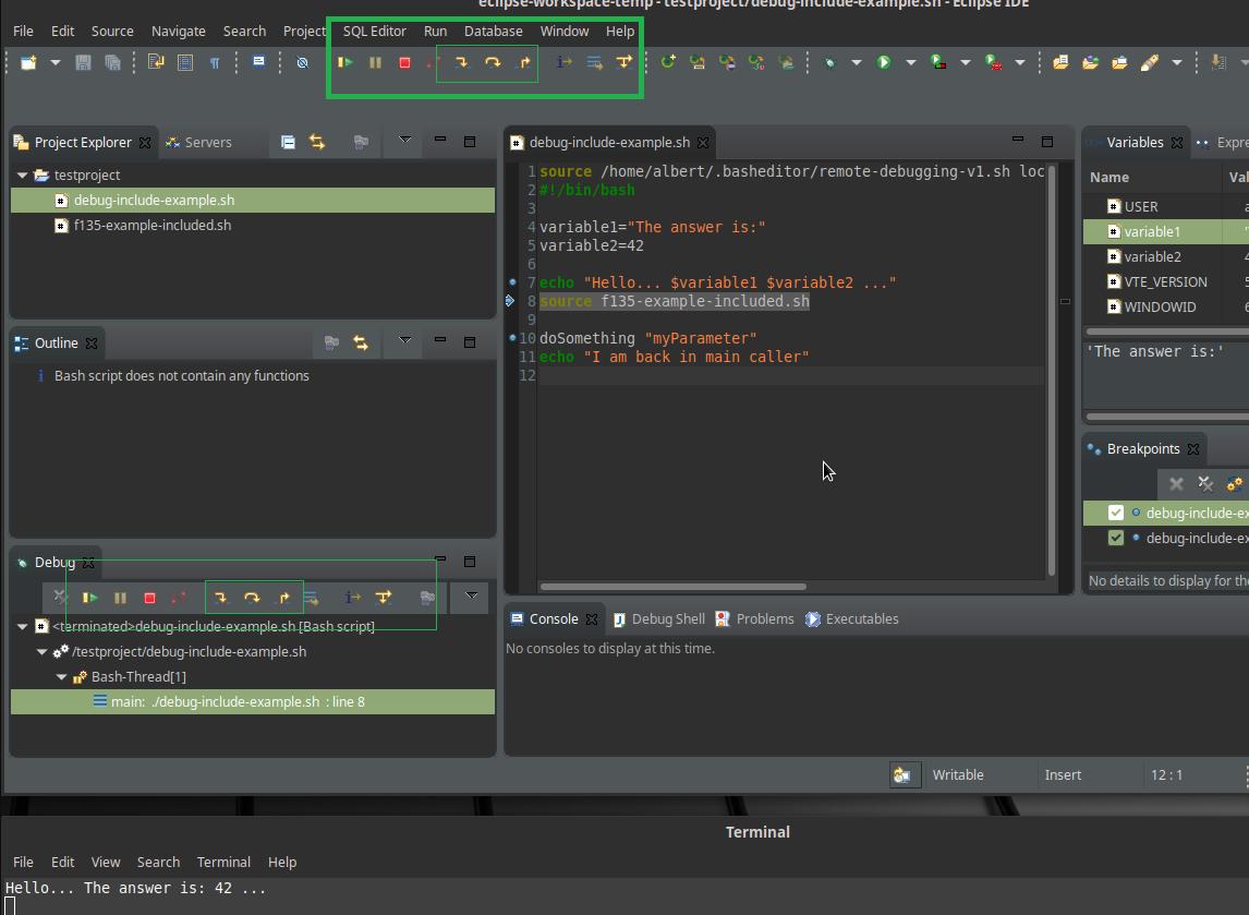 Debugger should have function keys for debugging as in java