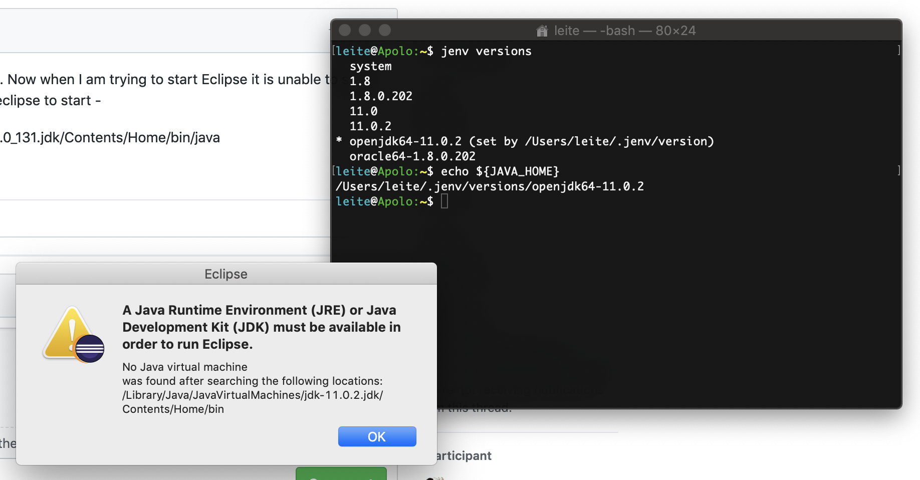 Eclipse not starting after java is managed by JEnv · Issue #173