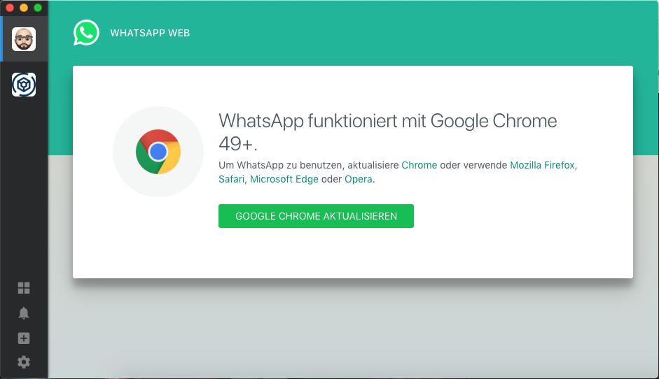Whatsapp Service Wants Chrome 49 Issue 1540 Meetfranz