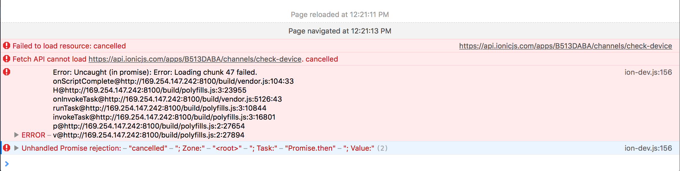 ionic deploy update is causing errors in live reload