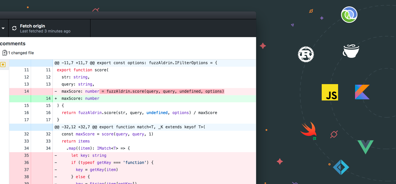 GitHub Desktop now has syntax highlighting for many different languages