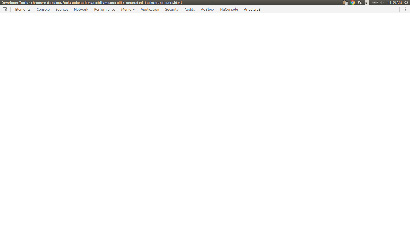 In chrome devlopment tools window AngularJS tab shows blank