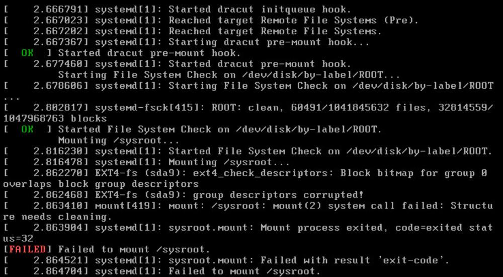 sysroot-mount-failed
