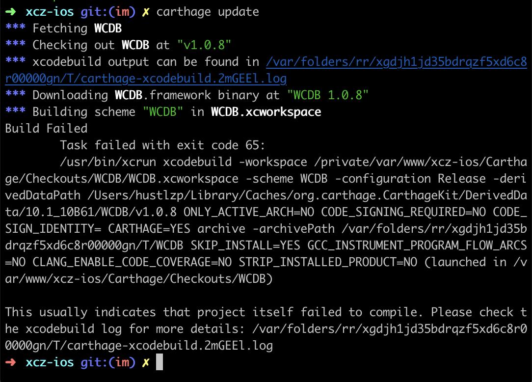 Install WCDB via Carthage, but build failed · Issue #453