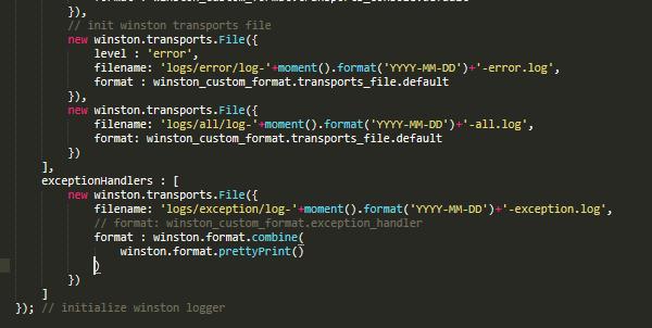 Custom Format - Exception Handler · Issue #1693 · winstonjs