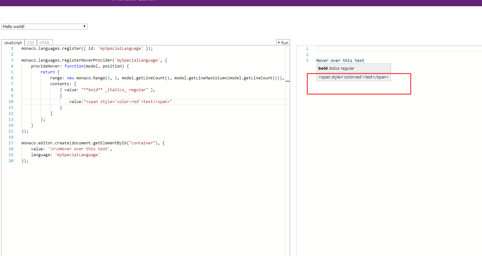 HTML support in hover (inline HTML in IMarkdownString