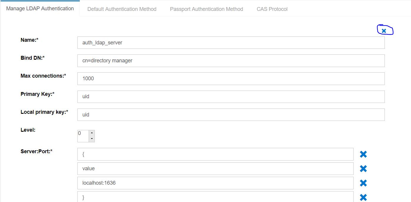 The button to remove Source Ldap Server under LDAP Manage