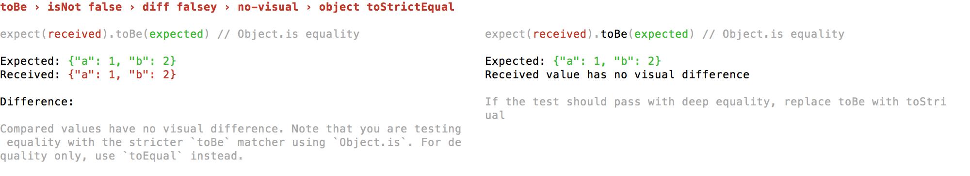 false falsey no-visual object toStrictEqual