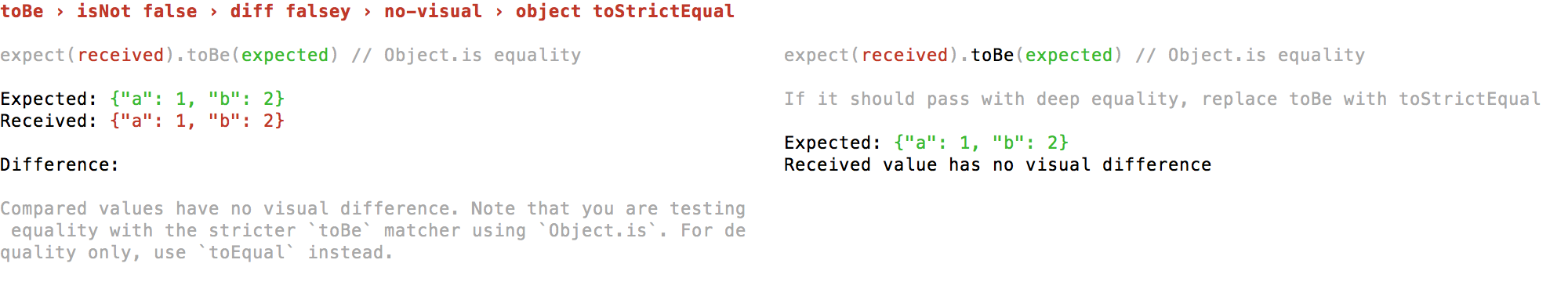 false falsey no-visual object toStrictEqual 2