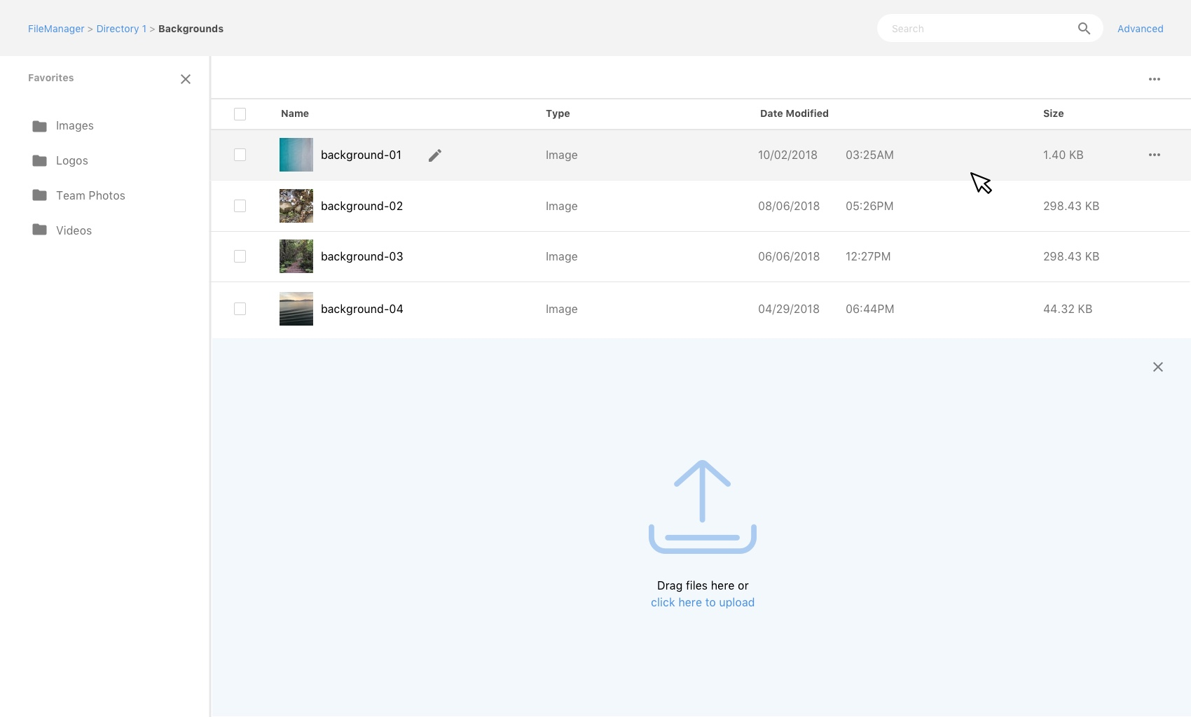 file manager list hover