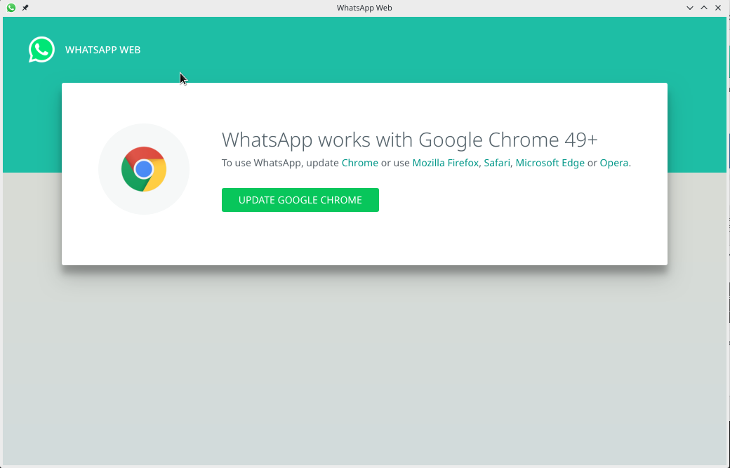 WhatsApp Web requires Chrome update · Issue #823 · jiahaog/nativefier ·  GitHub