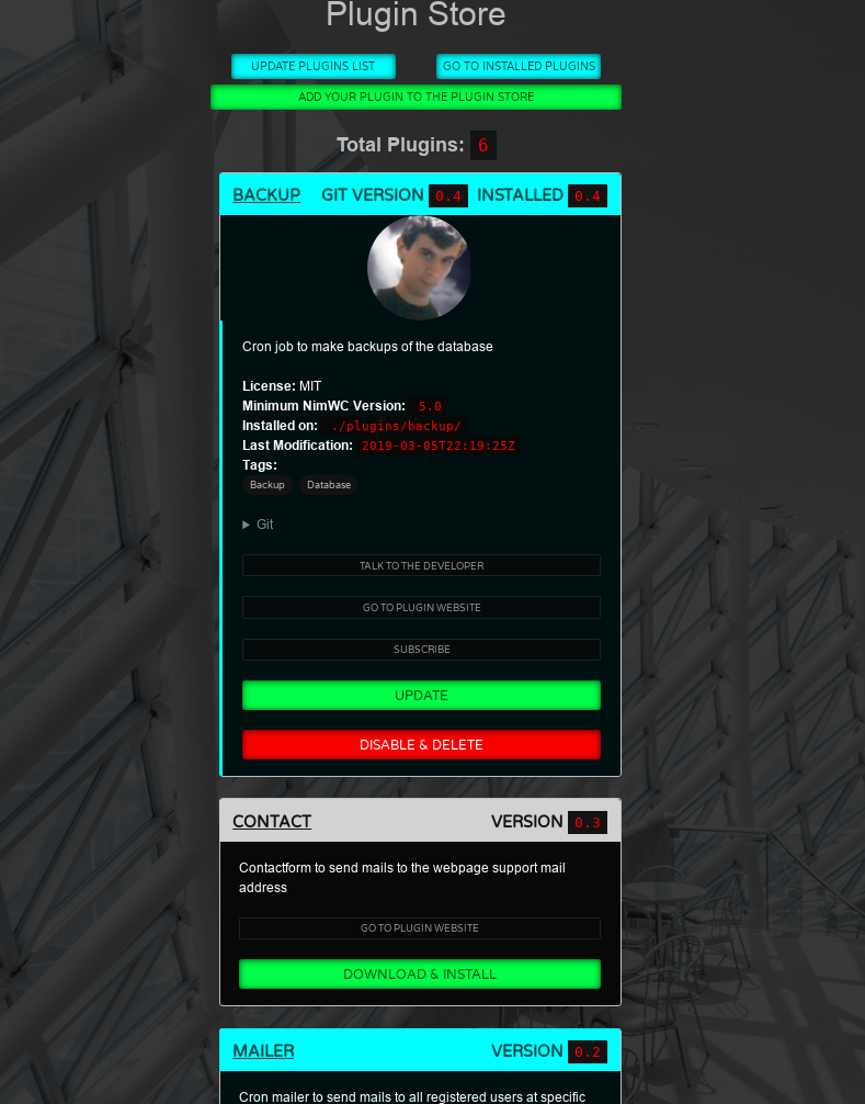 Plugin Store Screenshot