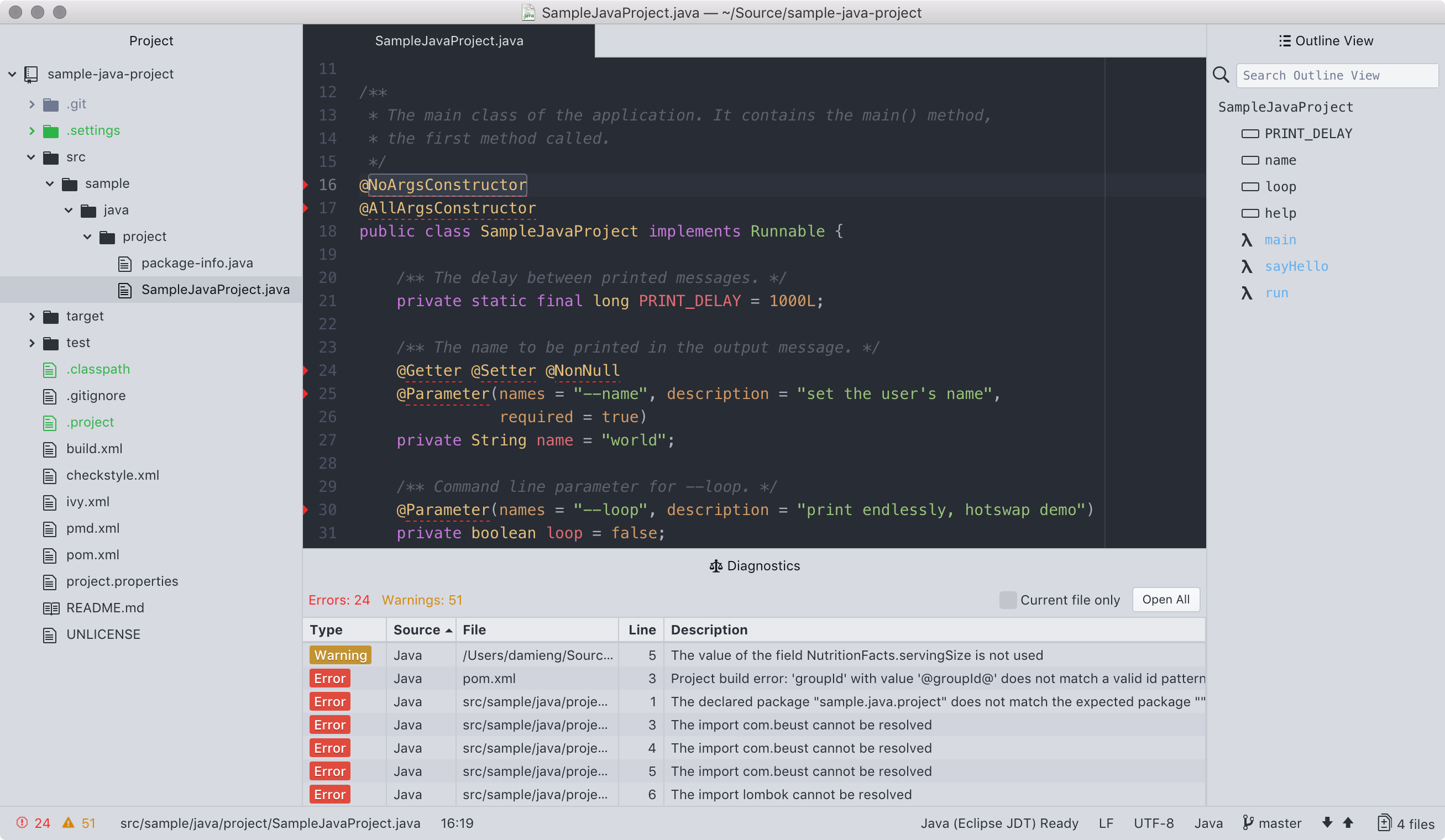 Screenshot of IDE-Java