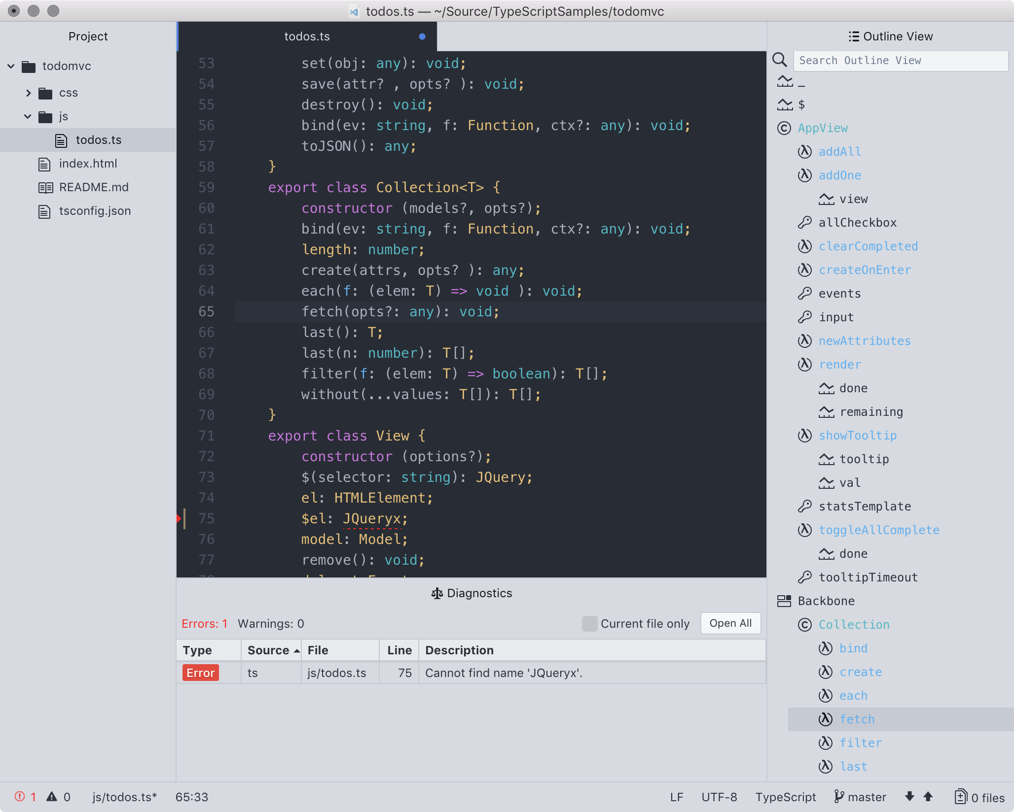 Screen shot of IDE-TypeScript