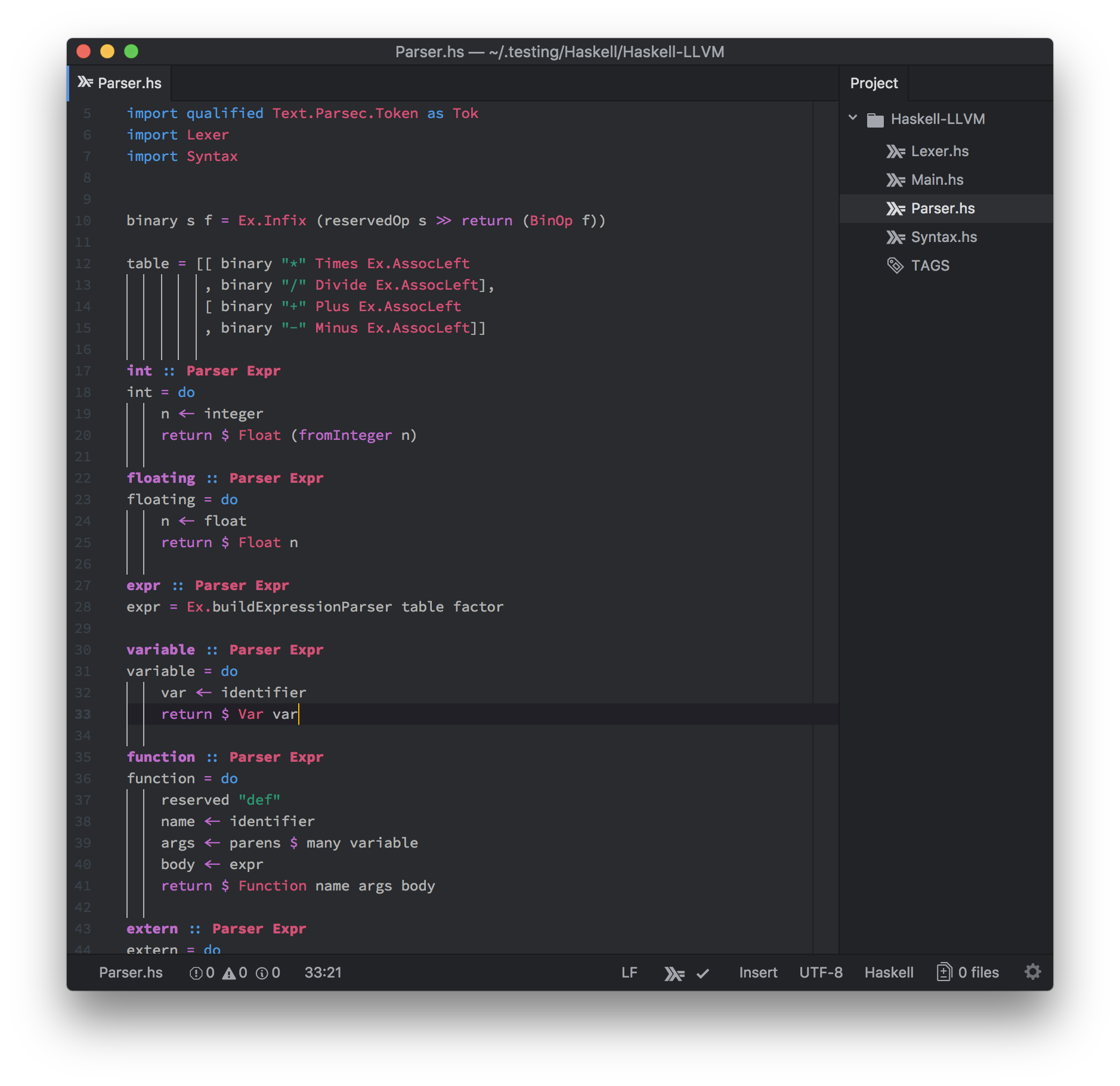 Screenshot of Spacemacs Dark Syntax