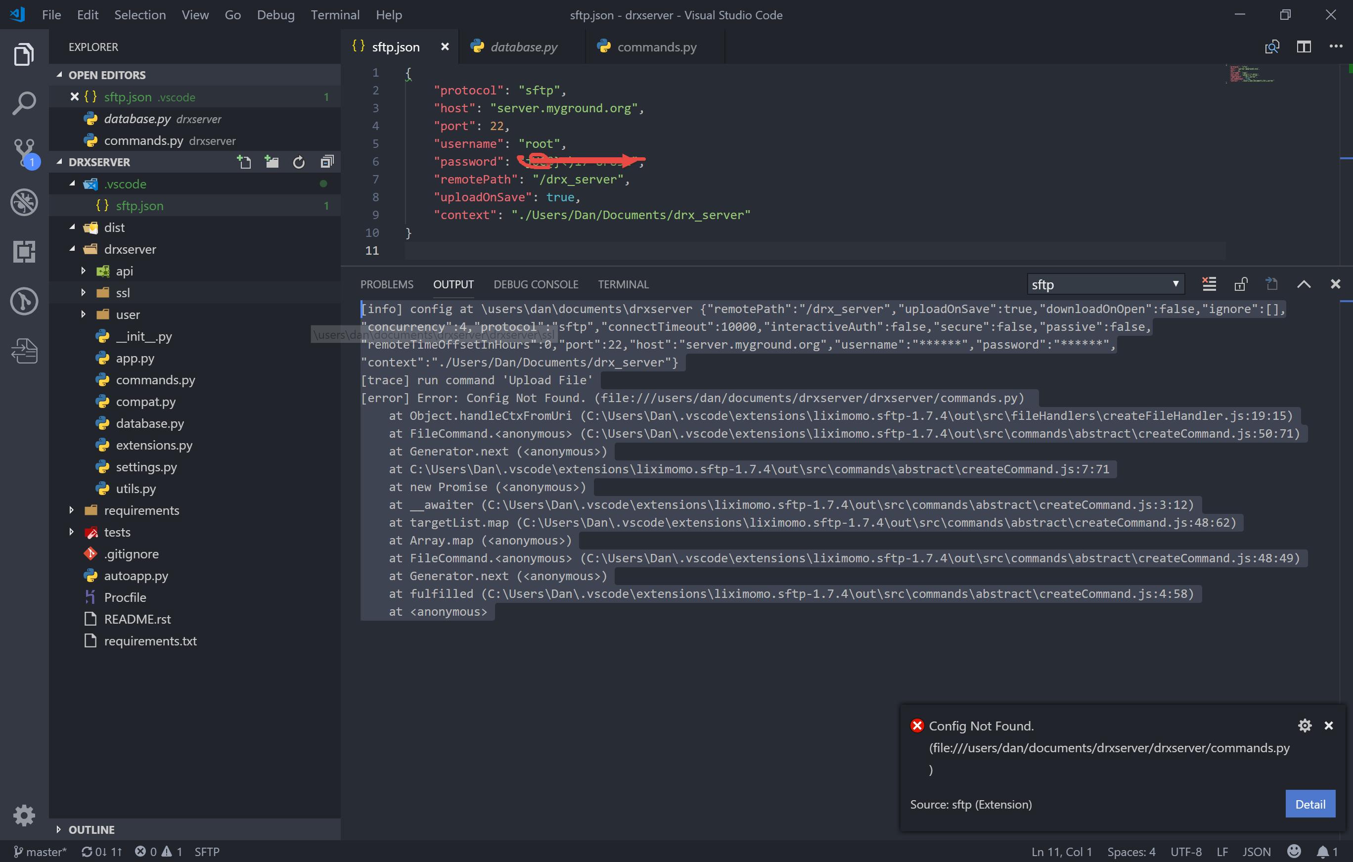 Error: Config Not Found · Issue #394 · liximomo/vscode-sftp