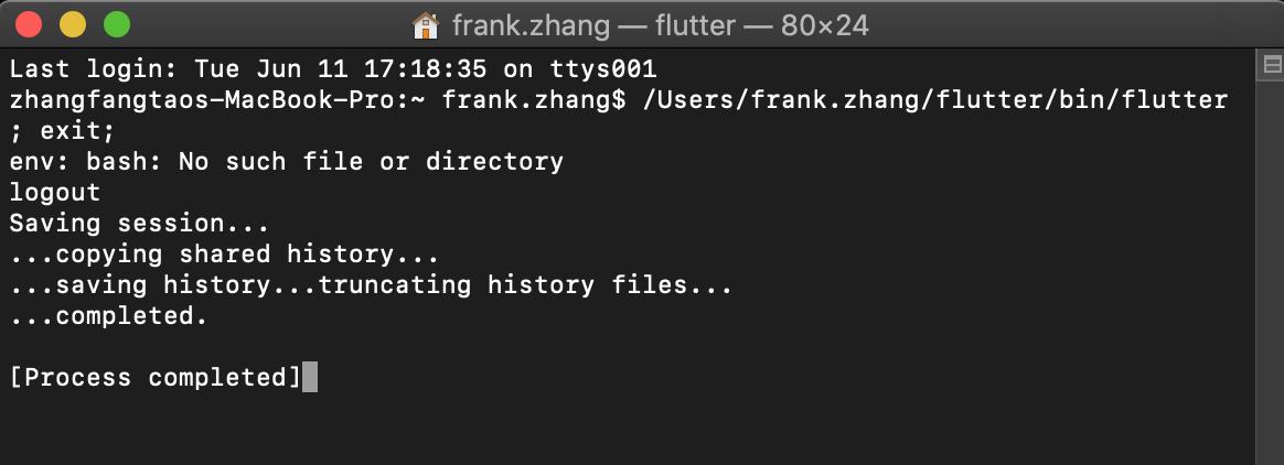 flutter doctor, But env: bash: No such file or directory