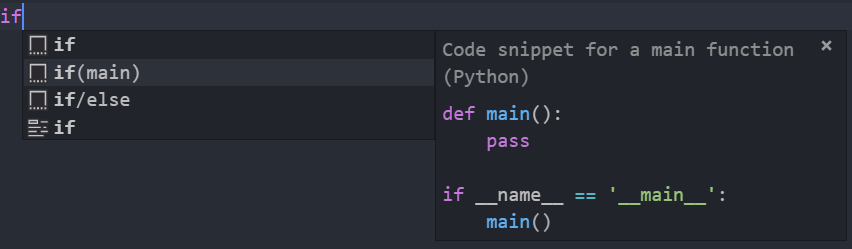 Add a snippet for the `if __name__ == '__main__':` block