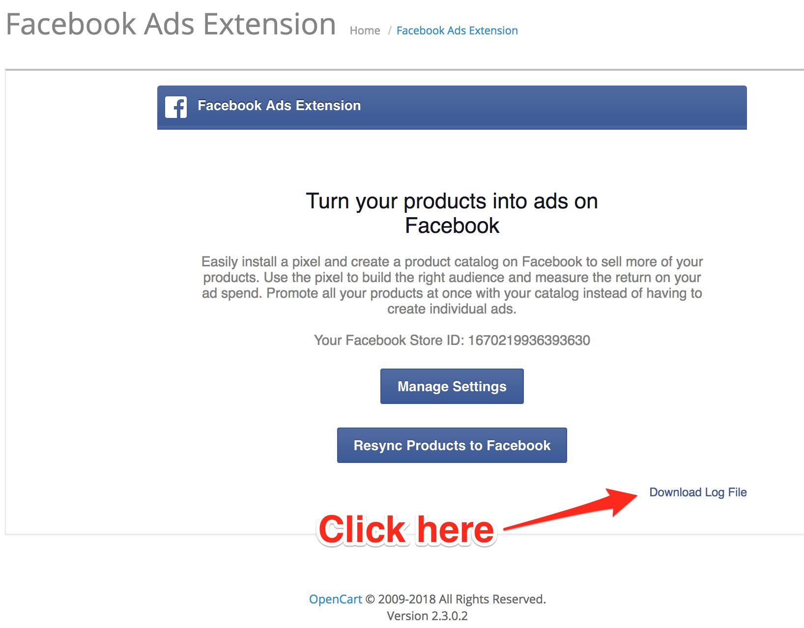 There is an error with Facebook Ads Extension setup  Please click on