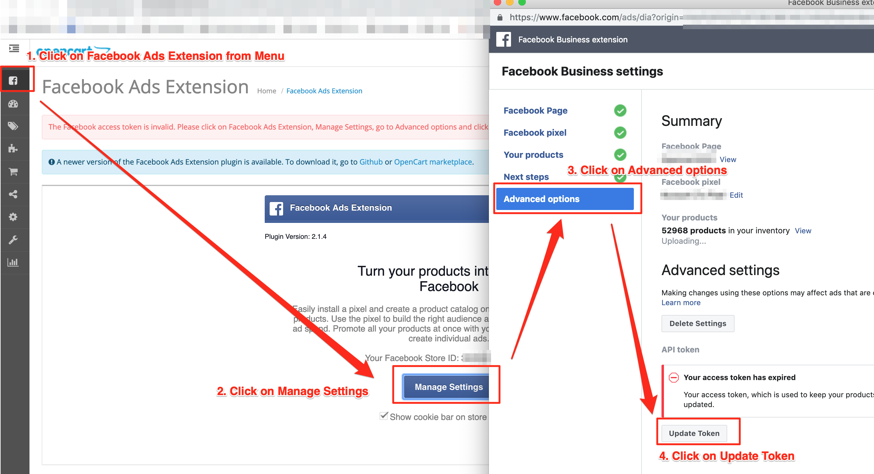 The Facebook access token is invalid  Please click on Facebook Ads