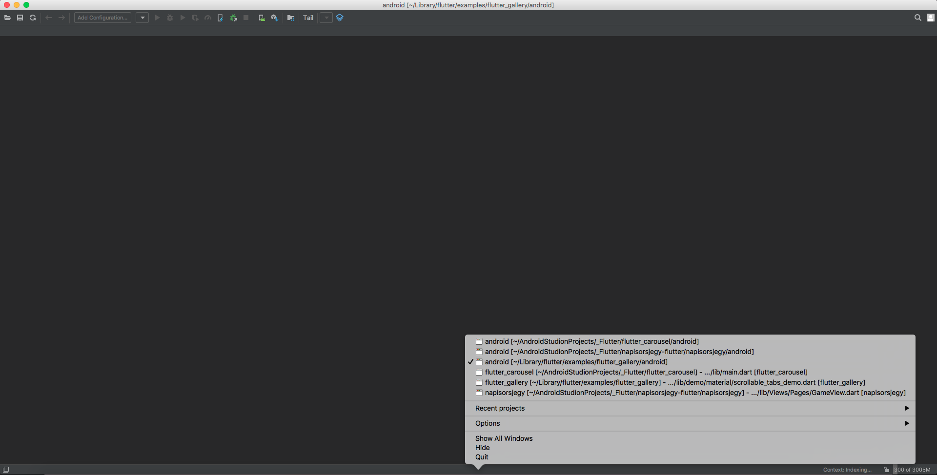 Android Studio 3 3 2 flutter project multiple empty, noncloseable