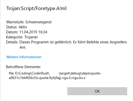 Windows Defender detects Trojan:Script/Foretype A!ml · Issue
